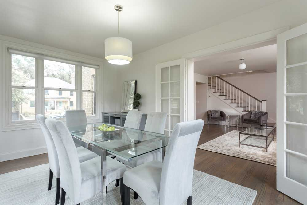 Westover Townhomes dining room with natural hardwood floors