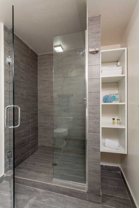 Westover Townhomes bathroom with beautiful walk in shower